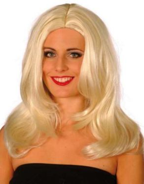 Ladies Superstar Long Wavy Wig - Platinum Blonde